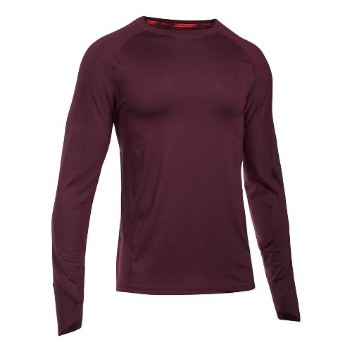 Mens Under Armour Speed To Burn Long Sleeve Technical Tops - Raisin Red 3XL