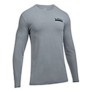 Mens Under Armour Back Graphic Long Sleeve Technical Tops - Steel Heather L