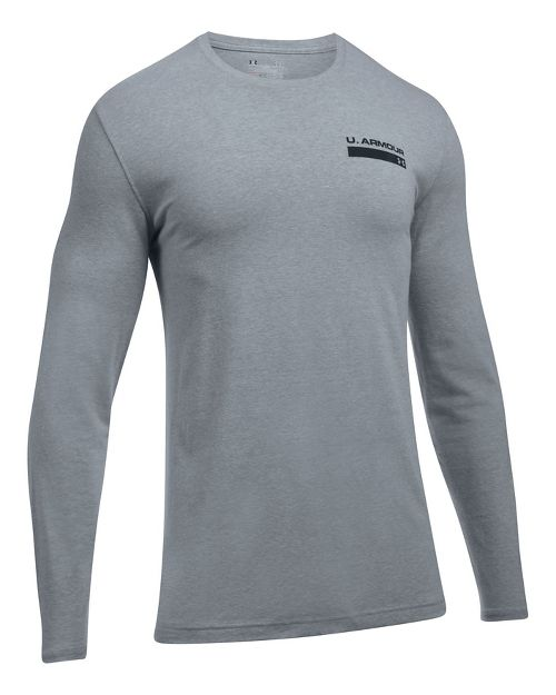 Mens Under Armour Back Graphic Long Sleeve Technical Tops - Steel Heather XL