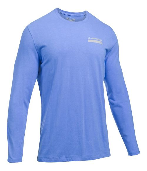 Mens Under Armour Back Graphic Long Sleeve Technical Tops - Water Heather XXL