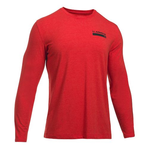 Mens Under Armour Back Graphic Long Sleeve Technical Tops - Red Heather M