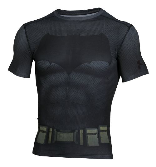 Mens Under Armour Batman Suit Short Sleeve Technical Tops - Graphite/Black XL