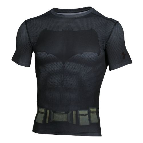 Mens Under Armour Batman Suit Short Sleeve Technical Tops - Graphite/Black L