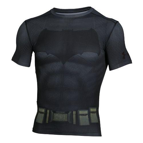 Mens Under Armour Batman Suit Short Sleeve Technical Tops - Graphite/Black M