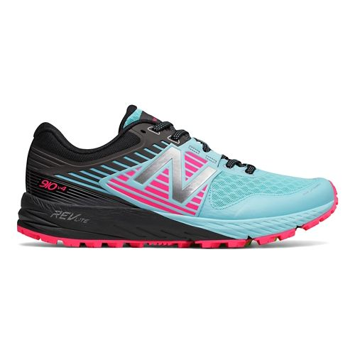 Womens New Balance 910v4 Trail Running Shoe - Sea/Pink 9