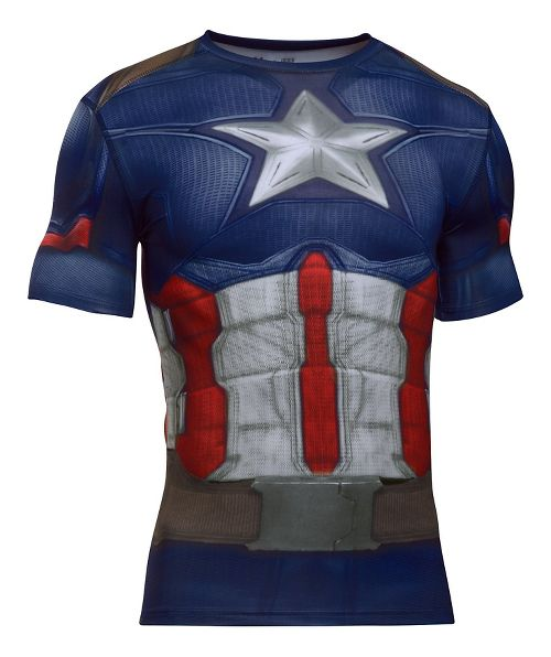 Mens Under Armour Captain America Suit Short Sleeve Technical Tops - Midnight Navy/White XL