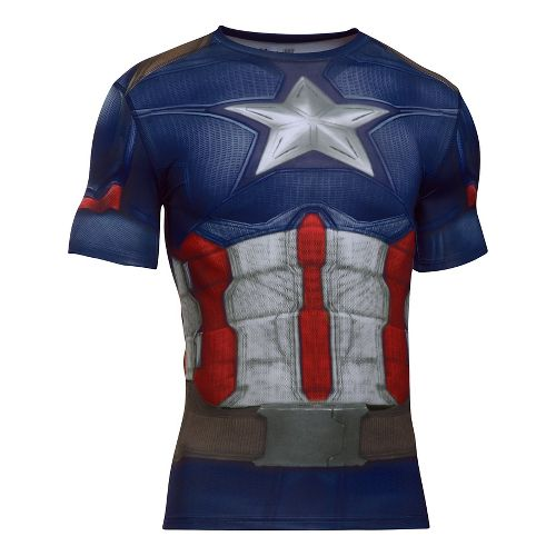 Mens Under Armour Captain America Suit Short Sleeve Technical Tops - Midnight Navy/White S