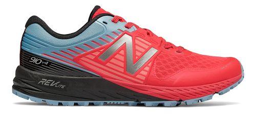 Womens New Balance 910v4 GTX Trail Running Shoe - Coral/Sky/Black 6.5