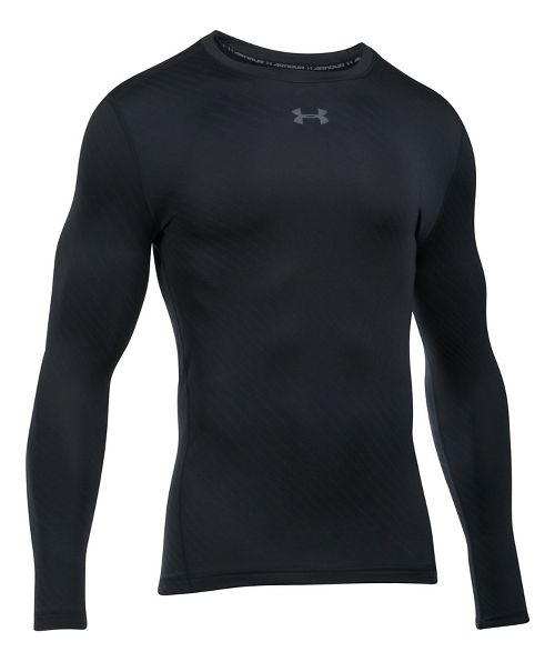 Mens Under Armour ColdGear Jacquard Crew Long Sleeve Technical Tops - Black M