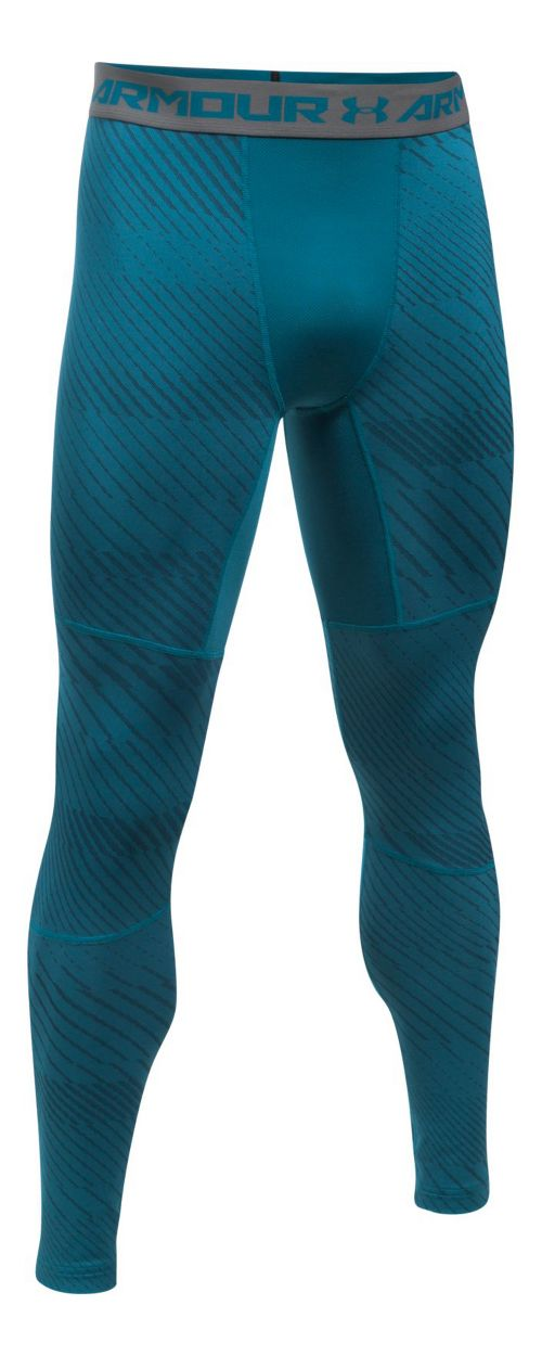 Mens Under Armour ColdGear Jacquard Legging  Tights - Bayou Blue L