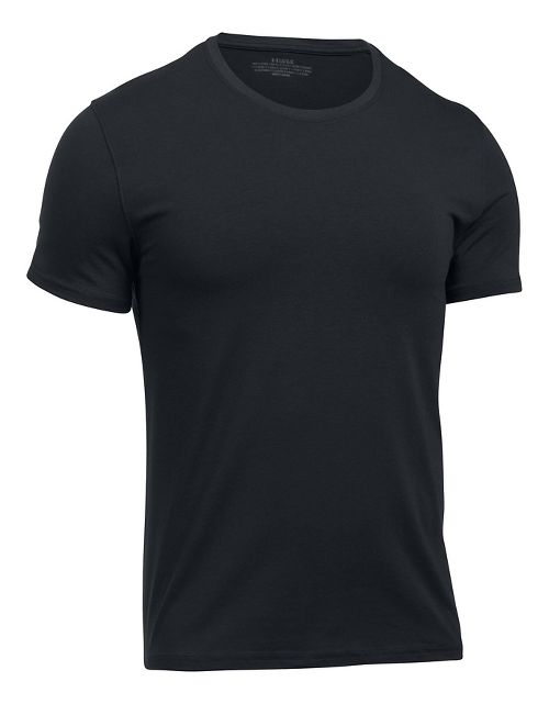 Mens Under Armour Charged Cotton 2 Pack Crew Short Sleeve Technical Tops - Black/Black S