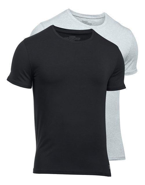 Mens Under Armour Charged Cotton 2 Pack Crew Short Sleeve Technical Tops - Grey Heather/Black M