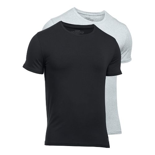 Mens Under Armour Charged Cotton 2 Pack Crew Short Sleeve Technical Tops - Grey Heather/Black 5XL