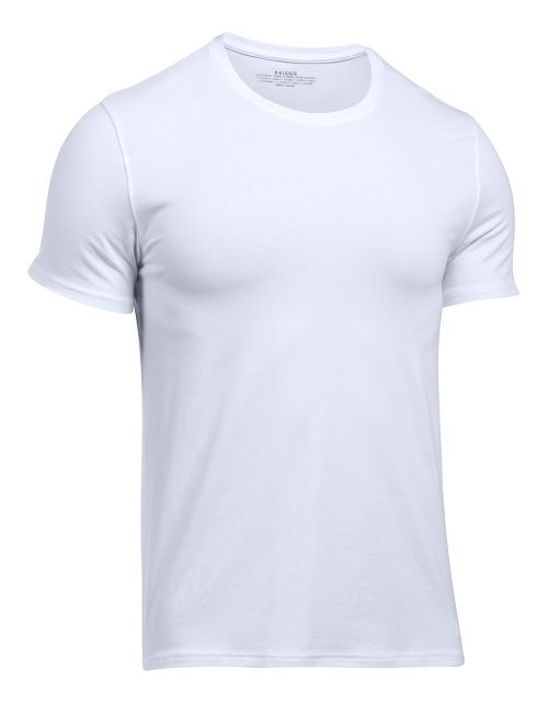 Mens Under Armour Charged Cotton 2 Pack Crew Short Sleeve Technical Tops - White/White XL