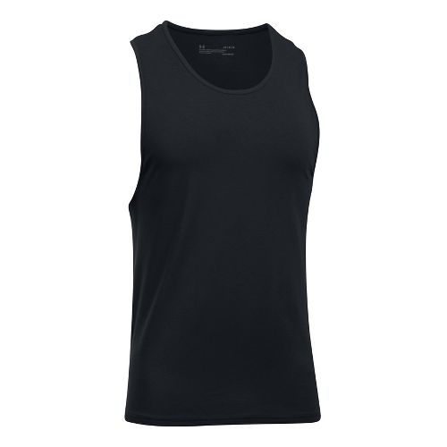 Mens Under Armour Charged Cotton 2 Pack Sleeveless & Tank Tops Technical Tops - Black/Black XL