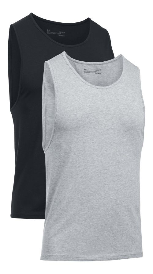 Mens Under Armour Charged Cotton 2 Pack Sleeveless & Tank Tops Technical Tops - Grey ...