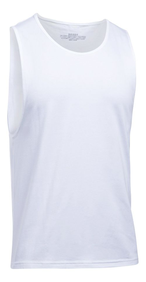 Mens Under Armour Charged Cotton 2 Pack Sleeveless & Tank Tops Technical Tops - White/White XL