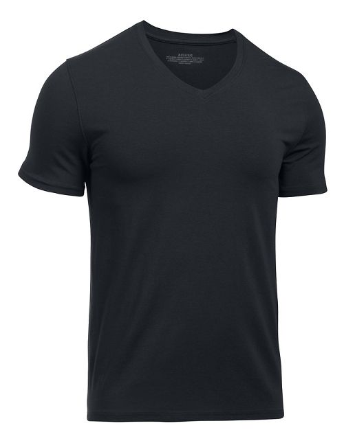 Mens Under Armour Charged Cotton 2 Pack V-Neck Short Sleeve Technical Tops - Black/Black XXL
