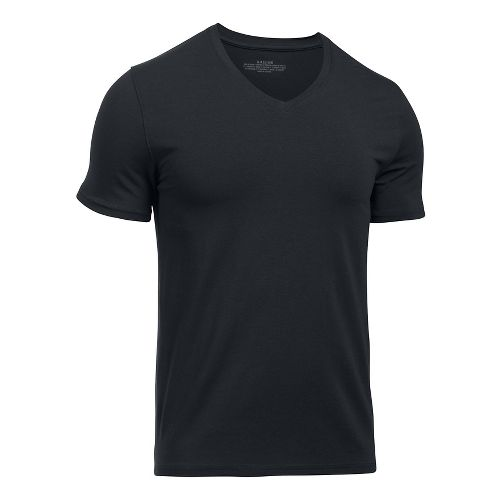 Mens Under Armour Charged Cotton 2 Pack V-Neck Short Sleeve Technical Tops - Black/Black M ...