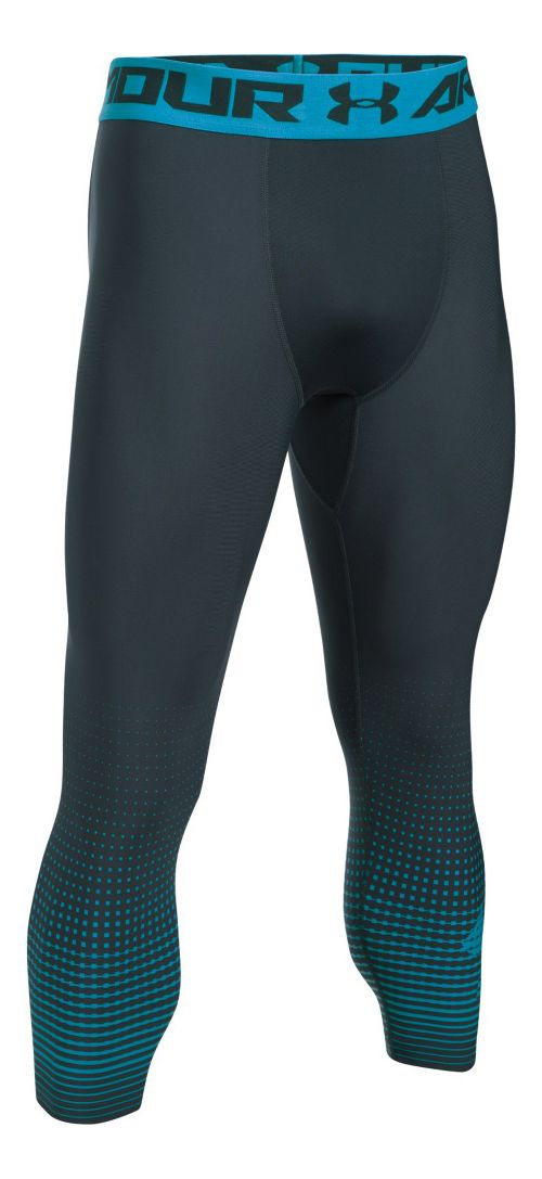 Mens Under Armour HeatGear Compression Graphic 3/4 Crop Tights - Stealth Grey/Blue M