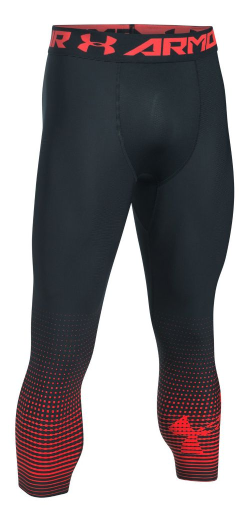 Mens Under Armour HeatGear Compression Graphic 3/4 Crop Tights - Anthracite/Red XL