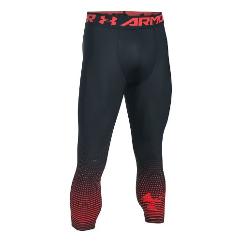 Mens Under Armour HeatGear Compression Graphic 3/4 Crop Tights - Anthracite/Red M