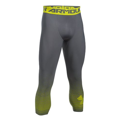 Mens Under Armour HeatGear Compression Graphic 3/4 Crop Tights - Graphite/Yellow L