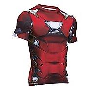 Mens Under Armour Iron Man Suit Short Sleeve Technical Tops - Cardinal XXL