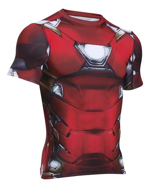 Mens Under Armour Iron Man Suit Short Sleeve Technical Tops - Cardinal XL