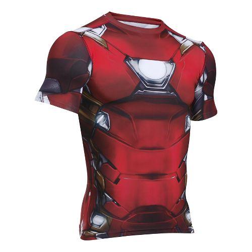 Mens Under Armour Iron Man Suit Short Sleeve Technical Tops - Cardinal S
