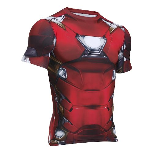 Mens Under Armour Iron Man Suit Short Sleeve Technical Tops - Cardinal XXL