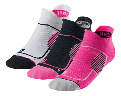 R-Gear Unstoppable Thin No Show Tab 3 pack Socks - Pink Glo/Black/White S
