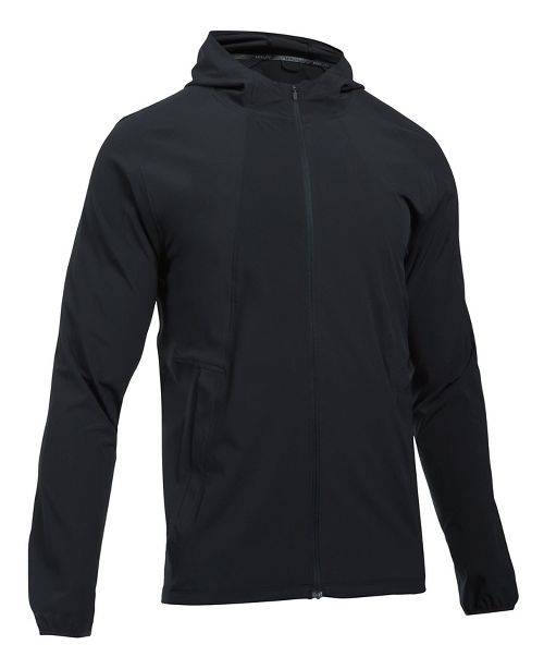 Mens Under Armour Outrun The Storm Running Jackets - Black/Black M