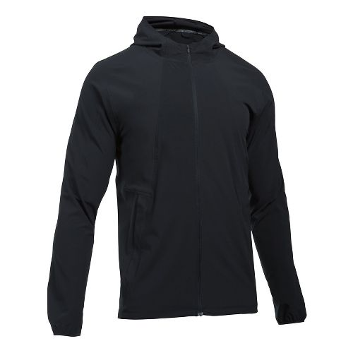 Mens Under Armour Outrun The Storm Running Jackets - Black/Black L