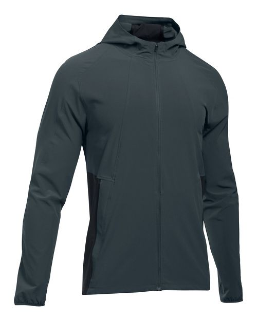Mens Under Armour Outrun The Storm Running Jackets - Stealth Grey/Black S