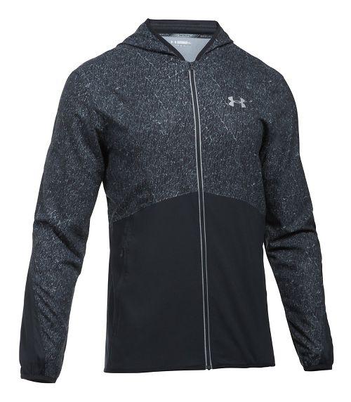 Mens Under Armour Run True SW Printed Running Jackets - Black XL