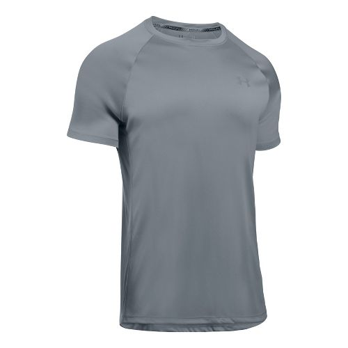 Mens Under Armour Speed Stride Short Sleeve Technical Tops - Steel L