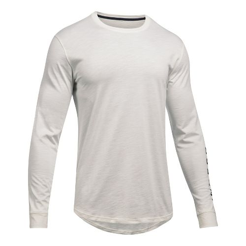 Mens Under Armour Sportstyle Graphic Tee Long Sleeve Technical Tops - Ivory S