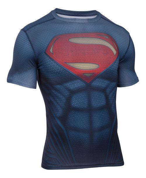 Mens Under Armour Superman Suit Short Sleeve Technical Tops - Midnight Navy XXL