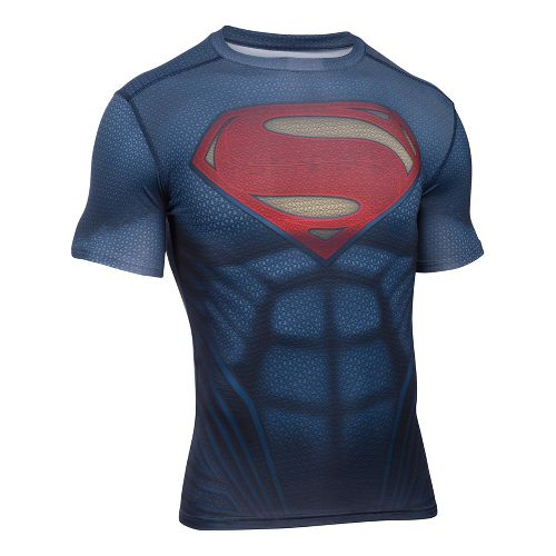 Mens Under Armour Superman Suit Short Sleeve Technical Tops - Midnight Navy M