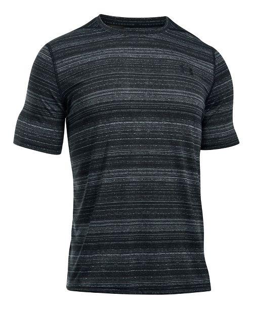Mens Under Armour Threadborne Black Twist Short Sleeve Technical Tops - Steel XL
