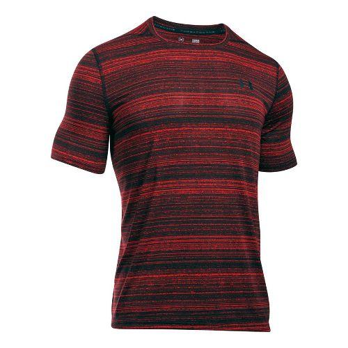 Mens Under Armour Threadborne Black Twist Short Sleeve Technical Tops - Raisin Red S