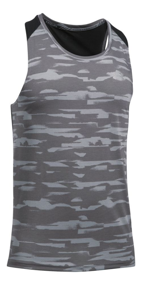 Mens Under Armour Threadborne Run Mesh Singlet Sleeveless & Tank Tops Technical Tops - Stealth ...