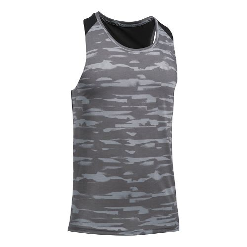 Mens Under Armour Threadborne Run Mesh Singlet Sleeveless & Tank Tops Technical Tops - Stealth ...
