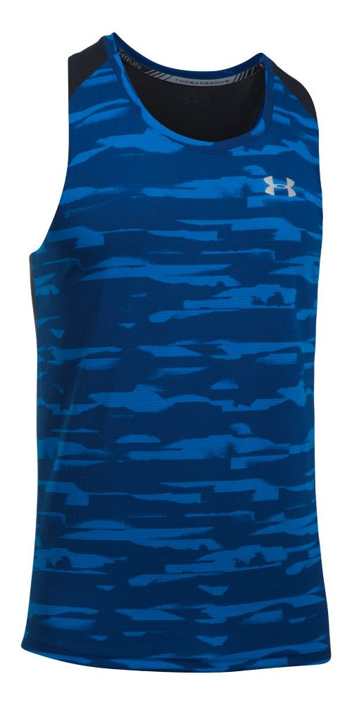 Mens Under Armour Threadborne Run Mesh Singlet Sleeveless & Tank Tops Technical Tops - Lapis ...