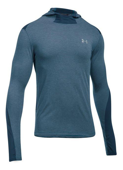 Mens Under Armour Threadborne Run Mesh Half-Zips & Hoodies Technical Tops - Bayou Blue L