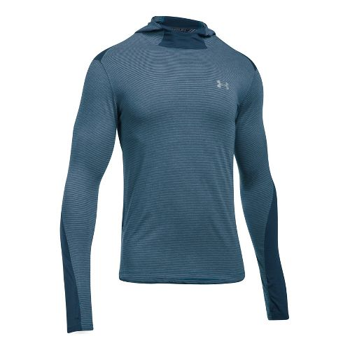 Mens Under Armour Threadborne Run Mesh Half-Zips & Hoodies Technical Tops - Bayou Blue L