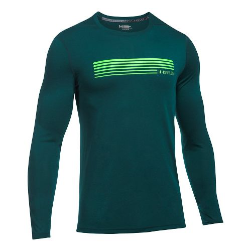 Mens Under Armour Run Graphic Long Sleeve Technical Tops - Arden Green L