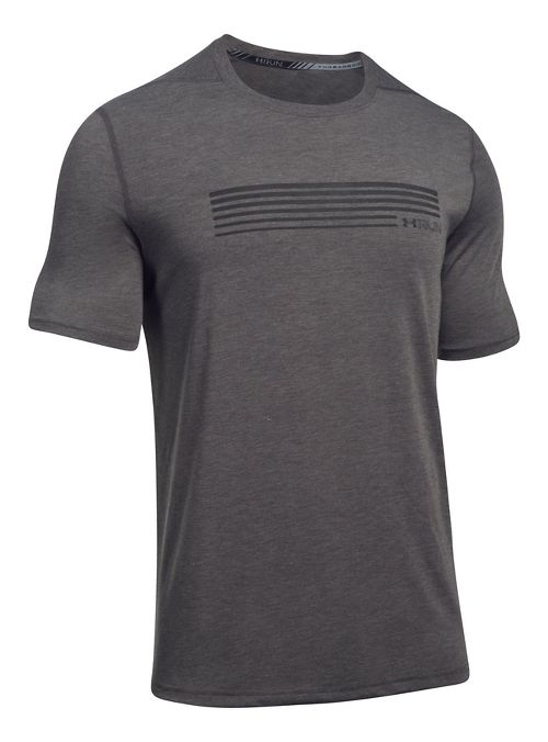 Mens Under Armour Run Graphic Short Sleeve Technical Tops - Carbon Heather/Black XXL