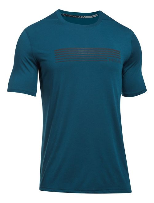 Mens Under Armour Run Graphic Short Sleeve Technical Tops - True Ink/Black M
